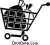 grocery cart Vector Clipart illustration
