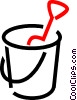 Vector Clip Art graphic  of a Pail and shovel