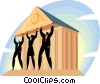 Vector Clip Art image  of a Business people supporting