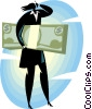 woman with dollar bills Vector Clip Art picture