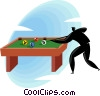 Vector Clipart graphic  of a Man shooting pool