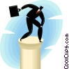 businessman on top of a column Vector Clip Art image