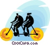 Vector Clipart illustration  of a bicycle with currency wheels