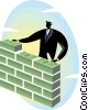 businessman building a wall out of money Vector Clip Art image