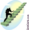Vector Clip Art picture  of a man climbing stairs made of
