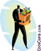 Vector Clipart illustration  of a businessman with a bag full of