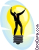 Vector Clipart illustration  of a businessman in a light bulb