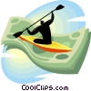 man in a kayak paddling through a dollar bill Vector Clipart graphic