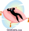 man resting on a pillow Vector Clip Art graphic