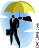 Vector Clip Art graphic  of a Businessman under a umbrella