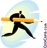 businessman carrying a pencil Vector Clipart picture