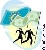 people running with currency flags Vector Clipart illustration