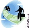 businessmen walking on a dollar bill Vector Clipart illustration