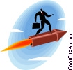Vector Clipart graphic  of a Businessman riding a rocket