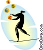 Vector Clip Art image  of a juggling while walking the tight rope