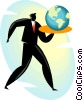 man with a serving tray and the world on it Vector Clipart graphic