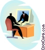 Vector Clip Art graphic  of a communicating through the