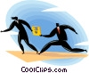 Business people in a relay race of technology Vector Clip Art graphic