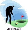 Vector Clip Art image  of a businessman playing golf