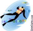 scuba diver swimming through data Vector Clip Art image