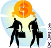 Vector Clipart picture  of a businessmen thinking about