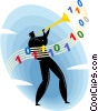 Vector Clipart graphic  of a man playing programming music