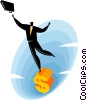 Businessman standing on a dollar sign Vector Clipart illustration