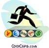 businessman on a money treadmill Vector Clip Art graphic