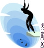Vector Clip Art image  of a Diving in with the sharks