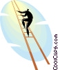 Vector Clip Art image  of a businessman climbing a ladder