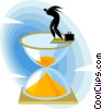 Vector Clip Art graphic  of a businessman jumping into hour