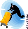 Vector Clipart picture  of a man with a dolly full of coins