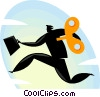 wind up businessman Vector Clipart graphic