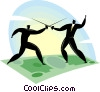 Vector Clipart illustration  of a businessmen fencing on a