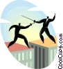 businessmen fencing on top of buildings Vector Clip Art image