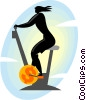 businesswoman on an exercise bike Vector Clipart picture