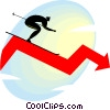 Vector Clip Art picture  of a downhill skier on a chart