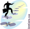 Businessman walking on cd-roms Vector Clip Art image