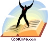 businessman standing on a book Vector Clipart image