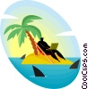 Vector Clipart graphic  of a deserted island surrounded by sharks