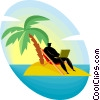 Vector Clip Art image  of a businessman on deserted island