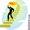 Vector Clipart illustration  of a businessman carrying a torch