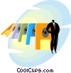 businessman with diskettes Vector Clip Art picture