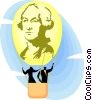 Vector Clipart graphic  of a George Washington hot air balloon