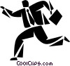 Vector Clip Art graphic  of a Running and Walking