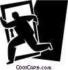 Vector Clipart graphic  of a man running away with a door