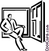 Vector Clipart picture  of a businessman looking out the