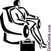 Vector Clip Art graphic  of a businesswoman sitting in a