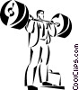 Vector Clip Art picture  of a businessman lifting weights