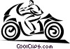 Vector Clipart graphic  of a businessman riding a